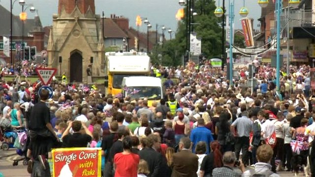 People in Skegness during the Olympic torch relay