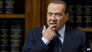 Former Italian Prime Minister Silvio Berlusconi attends a news conference in Rome, 25 May 2012