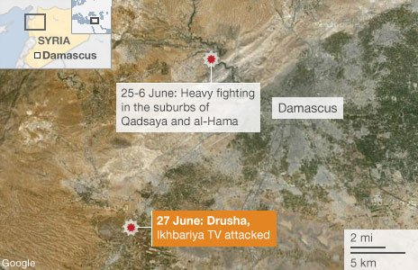 Map showing fighting in Damascus
