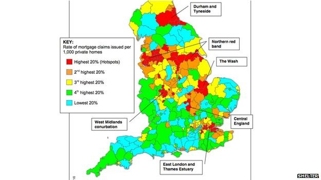 Map showing repossession risk across England