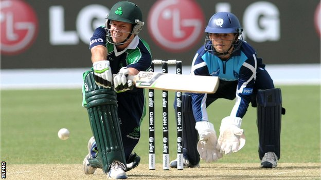 Ireland's Ed Joyce in World Twenty20 qualifying action against Scotland
