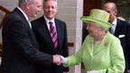 The Queen and Northern Ireland&#039;s Deputy First Minister Martin McGuinness shake hands for the first time