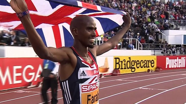 European 5,000m winner Mo Farah