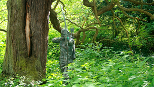 Robin Hood figure in Sherwood Forest