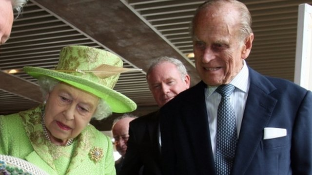 Queen, Duke of Edinburgh and Martin McGuinness in background