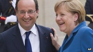 Francois Hollande and Angela Merkel in Paris, 27 June