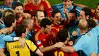 Spain celebrate reaching the Euro 2012 final