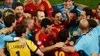 Spain celebrate reaching the Euro 2012 final
