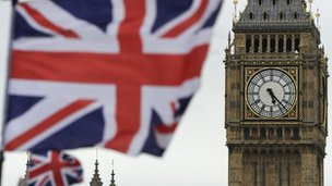 Union jack flying by the Houses of Parliament