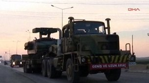 Lorry carry rocket launcher at Iskenderun, Turkey (27 June 2012)