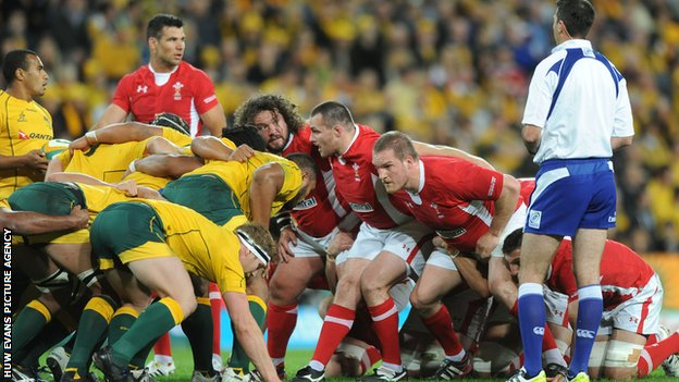 Wales and Australia prepare for a scrum in the first Test in Brisbane