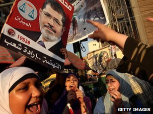 Women in Tahrir Square, Cairo, with a poster of Mohammed Mursi