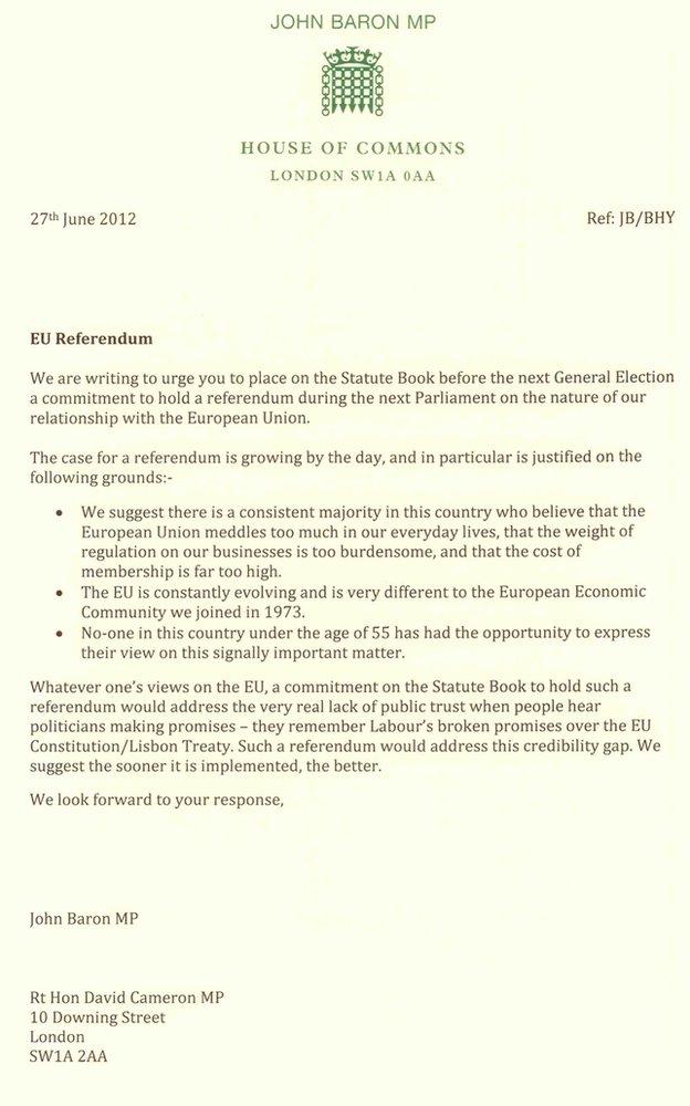 Letter from John Baron