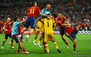 Cesc Fabregas of Spain celebrates scoring the winning penalty 