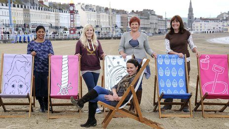 Olympic deckchairs on Weymouth beach