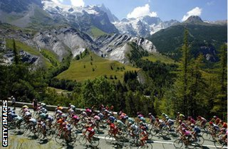Tour de France riders in the mountains