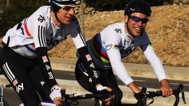 Team Sky&#039;s Bradley Wiggins (left) and Mark Cavendish