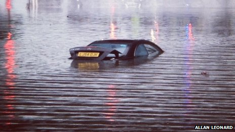 Car submerged