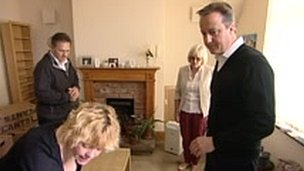 Prime Minister David Cameron visiting West Yorkshire flood victims