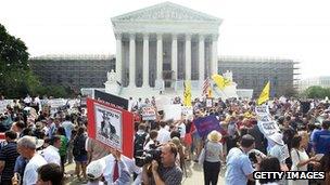 Crowds outside the US Supreme Court Washington Dc 28 June 2012