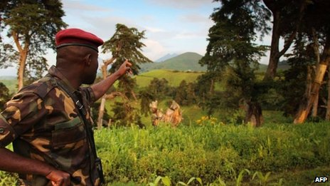An M23 rebel pointing, eastern DR Congo, June 2012