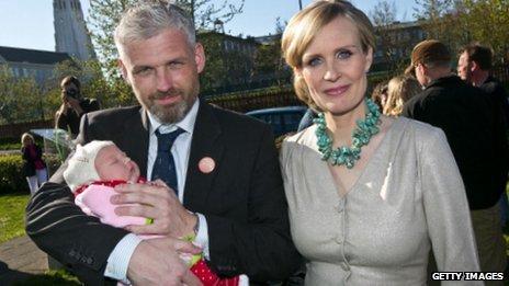 Thora Arnorsdottir with husband Svavar Halldorsson