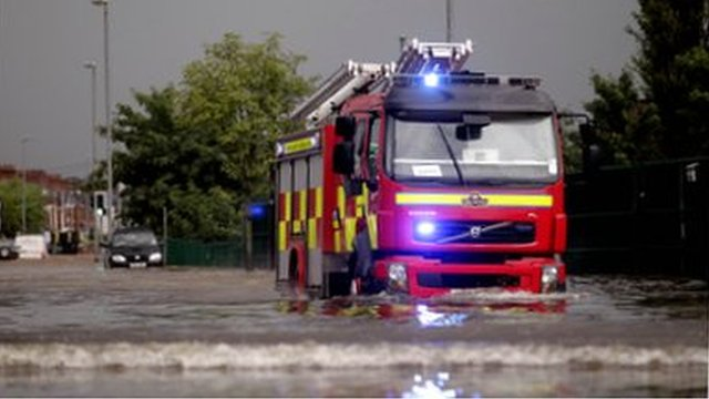 Fire engine in flood