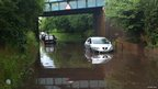 Cars stuck in floods at Albrighton, Image by Louise Hall