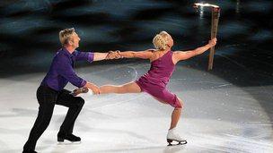 Jayne Torvill and Christopher Dean figure skating in Nottingham