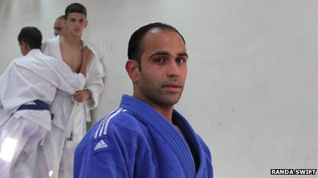 Palestinian judoka Maher Abul Rmelleh at a martial arts studio in east Jerusalem