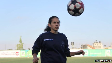 Ghadir Lada of the Palestinian National Women&#039;s team has a kick-about 