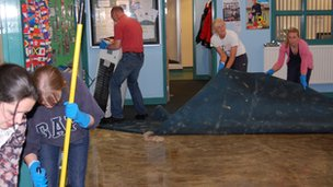 Staff and parents help with RGS clean-up