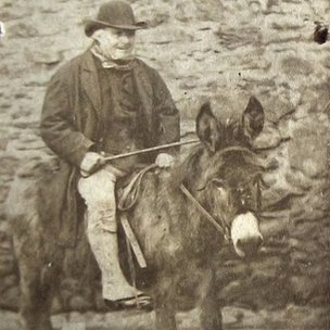 Farmer Edward Jones on a donkey