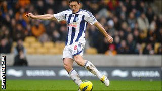 Keith Andrews scores for West Bromwich Albion against Wolves in February