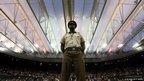A security guard at Wimbledon Lawn Tennis Championships