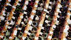View from above of delegates during the opening ceremony of the 11th Beijing Municipal People's Congress in Beijing.