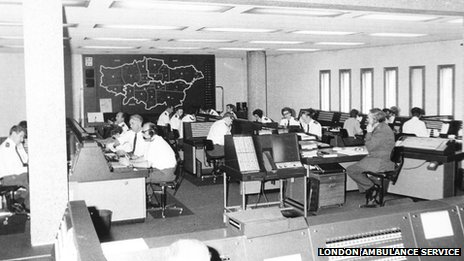 London Ambulance Service's Waterloo control room in 1976