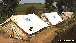 Refugees from DR Congo in tents, June 2012