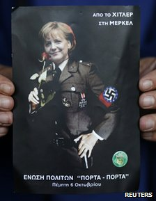 Greek poster depicting German Chancellor Angela Merkel in a Nazi uniform