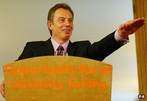 Tony Blair gestures (in what coincidentally looks like a Nazi salute) in 2004