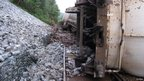 The derailed freight train near Corrour