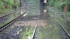 Flooded Metro line in Tyne and Wear.