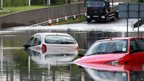 Cars stranded in floodwater in Tyne and Wear