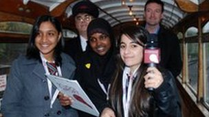 School Reporters Hawa, Manisha and Raman from St John Wall Catholic School report from the number 34 tram at the Black Country Living Museum in Dudley