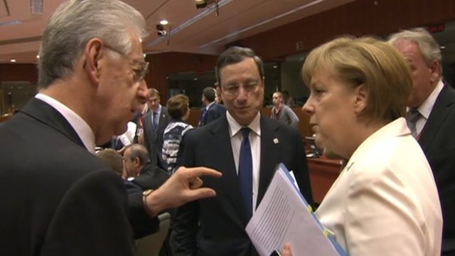Mario Monti and Angela Merkel