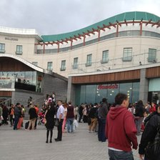 Crowds outside the centre