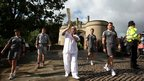 Torchbearer Barbara Green outside Nottingham Castle, 29 June 2012