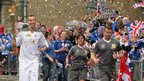British Superbikes rider John Kirkham ran with the torch through Bolsover, 29 June 2012