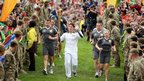 Former World Superbike champion James Toseland with Olympic flame