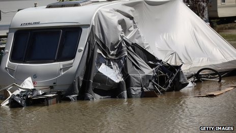 Flooding hit a caravan park near the village of Talybont in Ceredigion in June